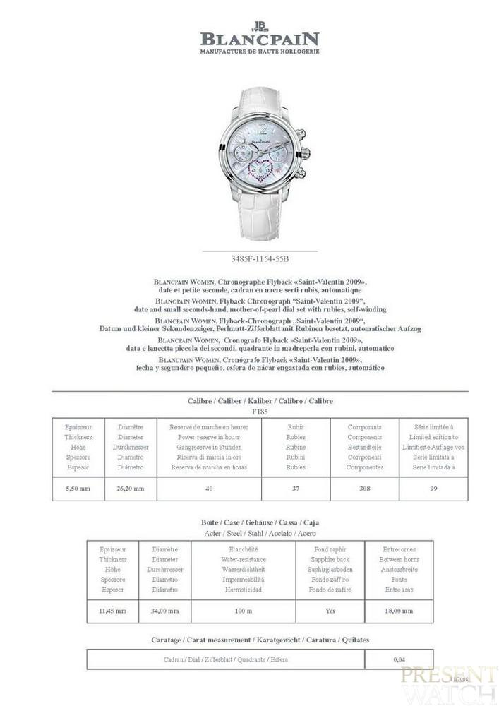Blancpain Saint Valentin Technical Document
