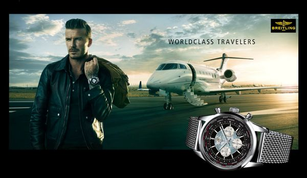 DAVID BECKHAM TRAVELS WITH BREITLING
