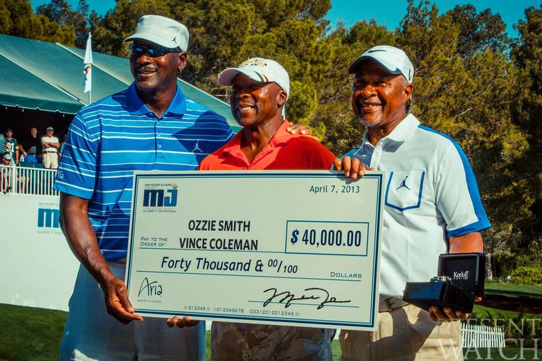 Tournament winners Mr. Ozzie Smith and Mr. Vince Coleman with Mr. Michael Jordan